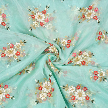 SeaGreen Red Flower Organza Embroidery Fabric-22253