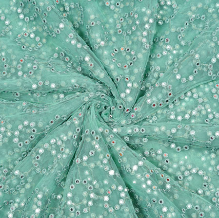 SeaGreen Silver Flower Net Embroidery Fabric-19163