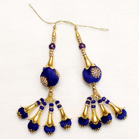 Decorative Gold Handmade Latkan with Royal Blue Pom Pom-0043