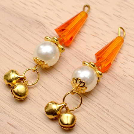 Decorative Handmade Hanging Bells with Orange Stones-0087