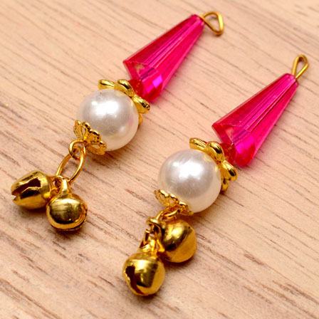 Decorative Handmade Hanging Bells with Pink Stones-0082