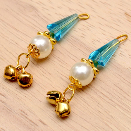 Decorative Handmade Hanging Bells with Sky Blue Stones-0084