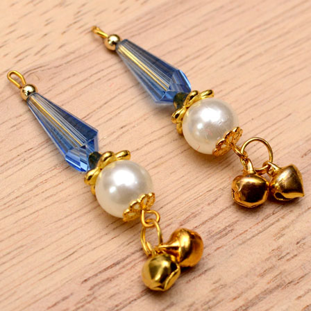 Decorative Handmade Hanging Bells with White Pearls-0080