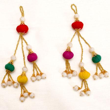 Decorative Handmade Multicolor Pom Pom Hanging Latkans-0040