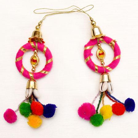 Decorative Pink Circular Pattern with Handmade Pom Pom-0041