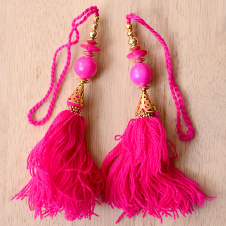 Decorative Pink Handmade Tassel charm by the yard-0030