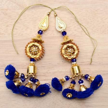 Golden Handmade Decorative Blue Pom Pom Latkans-0037