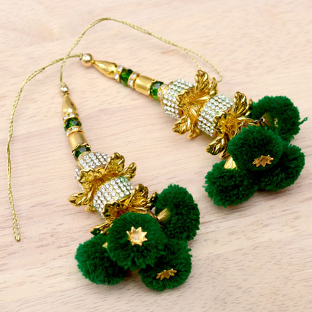 Golden Handmade Decorative Dark Green Pom Pom Latkans-0039