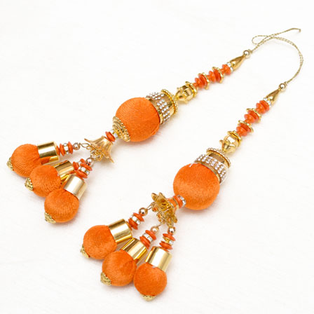 Golden Handmade Decorative Latkans with Orange Pom Pom-0049