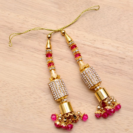Golden Handmade Decorative Latkans with Pink Stones-0022