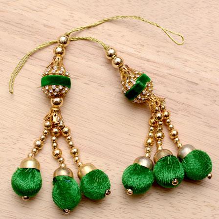 Golden Handmade Green Pom Pom Latkans with Gold pearls-0019