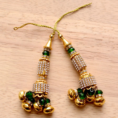 Golden Handmade Latkans with Green Stones-0025