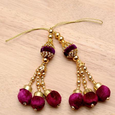 Golden Handmade Maroon Pom Pom Latkans with Gold pearls-0021