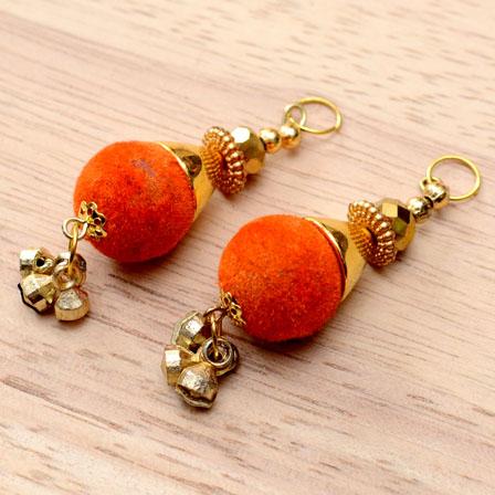 Handmade Decorative Handing Latkans with Orange Pom Pom-0058