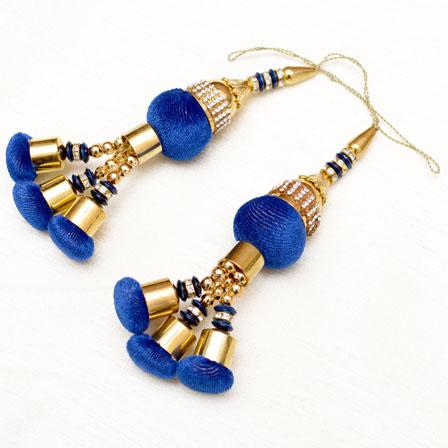 Handmade Gold Decorative Latkans with Navy Blue Pom Pom-0050