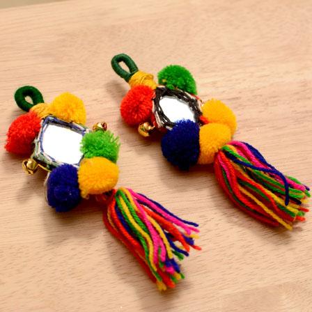 Handmade Multicolor Pom pom Tassle with Mirror-0001