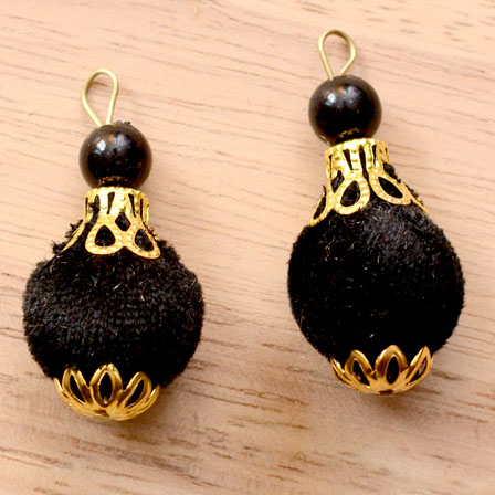 Handmade Pom Pom Decorative Latkans with Black Pearls-0072