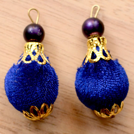 Handmade Pom Pom Decorative Latkans with Blue Pearls-0073