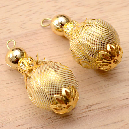 Handmade Pom Pom Decorative Latkans with Golden Pearls-0077