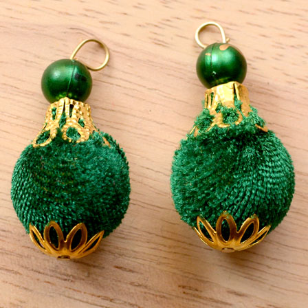 Handmade Pom Pom Decorative Latkans with Green Pearls-0074