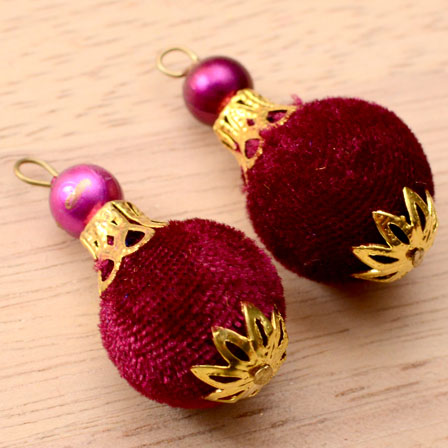 Handmade Pom Pom Decorative Latkans with Maroon Pearls-0075