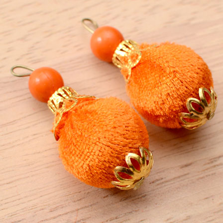 Handmade Pom Pom Decorative Latkans with Orange Pearls-0076