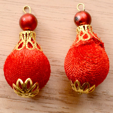 Handmade Pom Pom Decorative Latkans with Red Pearls-0071