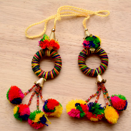 Multicolor Circular Pattern Handmade Pom Pom Tassels-0014