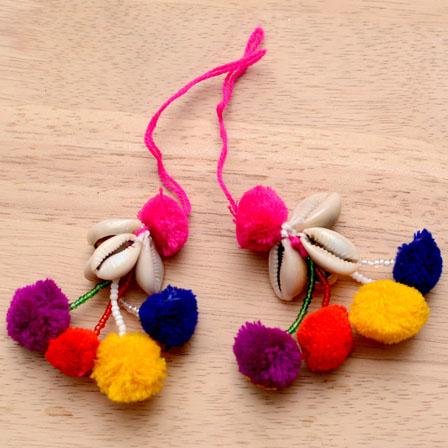 Multicolor Handmade Pom Pom Saree/ Dupatta Tassles-0013