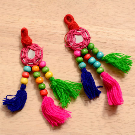 Multicolor Handmade Pom Pom Tassles with Mirror-0004