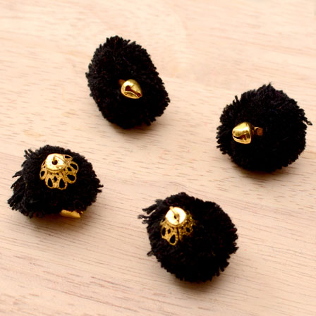 Black Pom Pom Decorative Handmade Latkans with Bells-0066