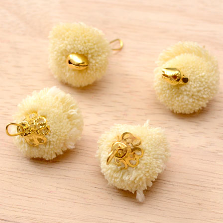 Cream Pom Pom Decorative Handmade Latkans with Bells-0067
