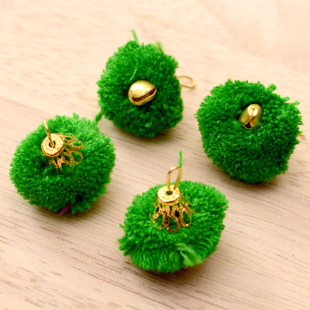 Green Pom Pom Decorative Handmade Latkans with Bells-0063