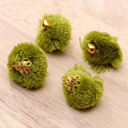 Olive Green Pom Pom Decorative Handmade Latkans-0061