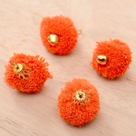 Orange Pom Pom Decorative Handmade Latkans with Bells-0069