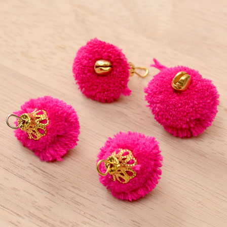 Pink Pom Pom Decorative Handmade Latkans with Bells-0064
