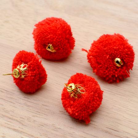 Red Pom Pom Decorative Handmade small Latkan with Bells-0060