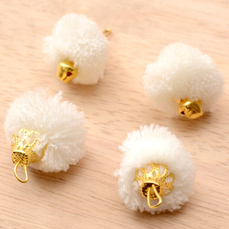 White Pom Pom Decorative Handmade Latkans with Bells-0068