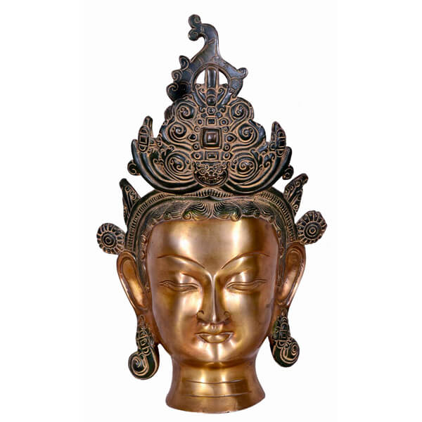 Shining Buddha head statue