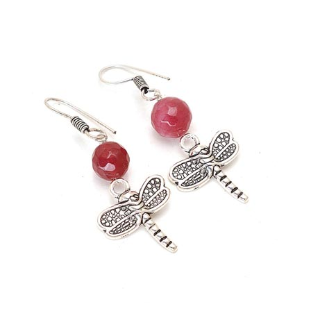 Silver ButterFly Pattern Drop Earring with Maroon Pearl for Women