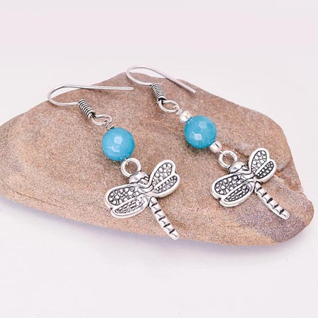 Silver ButterFly pattern Drop Earring with Sky Blue Pearls for Women