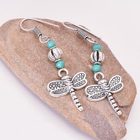 Silver ButterFly pattern Drop Earring with Sky Blue and Silver Pearls for Women