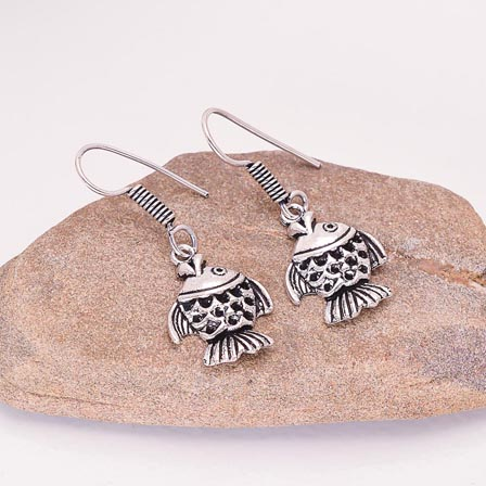 Silver Fish pattern Drop Earring for Women