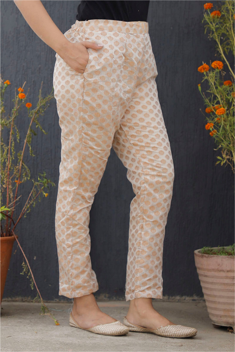 Silver Golden Brocade Silk Ankle Women Pant-34191