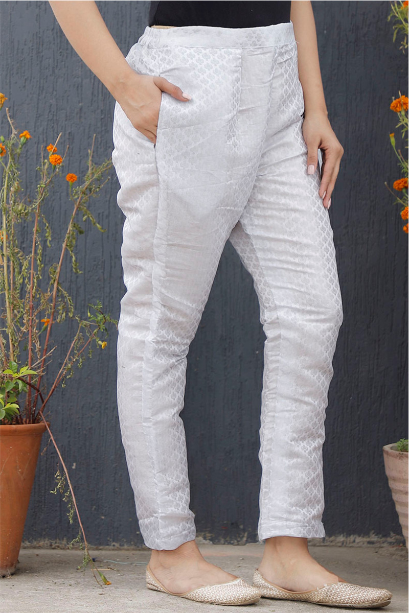 Silver Golden Brocade Silk Ankle Women Pant-34199