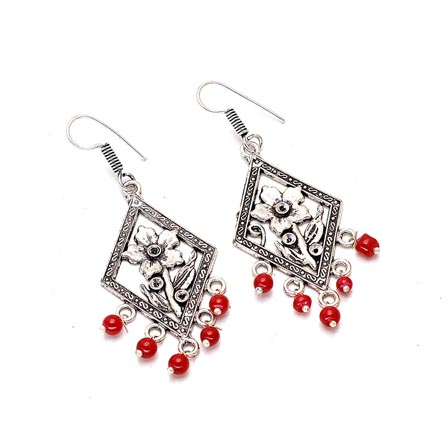 Silver Texture Designed Flower Shape Drop Earring with Red Pearls for Women