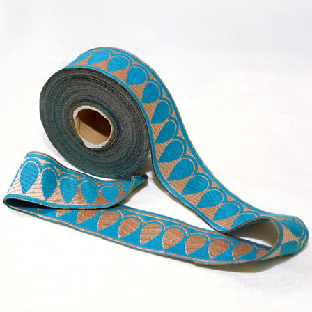 9 MTR Roll of Silver and Sky Blue Leaf Pattern Jacquard Ribbon-4035