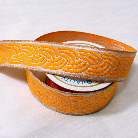 9 MTR Roll of Silver and Yellow Unique Shape Decorative Craft Ribbon-4074
