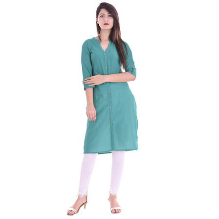 Sky Blue 3/4 Sleeve Solid Cotton Kurti-3103