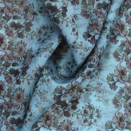 Sky Blue Beige Digital Organza Silk Fabric-51596